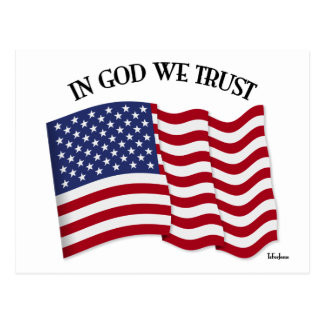 In God We Trust with US flag Postcard