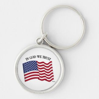 In God We Trust with US flag Silver-Colored Round Keychain