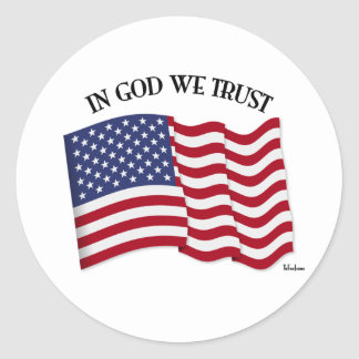 In God We Trust with US flag Stickers