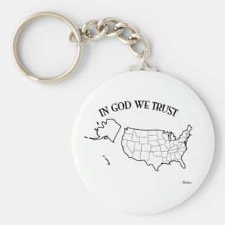 In God We Trust with US outline Keychain