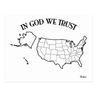 In God We Trust with US outline Postcard