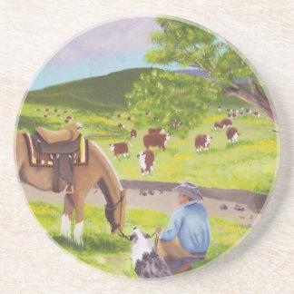 In Gods Country ~ Cowboy & Australian Shepherd Beverage Coasters