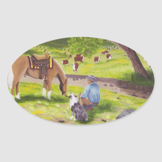 In Gods Country ~ Cowboy & Australian Shepherd Oval Sticker