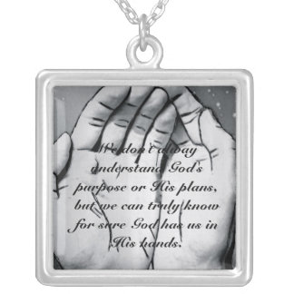 In God's Hands Square Pendant Necklace