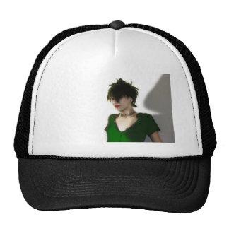 In green trucker hat
