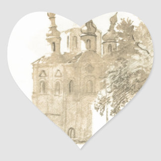 In Gustynia. A church of Sts. Peter and Paul. Heart Sticker