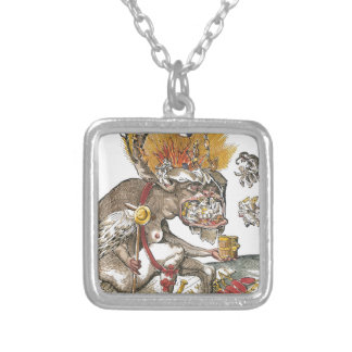 In Hell's Abyss: Matthias Gerung c.1536 Square Pendant Necklace