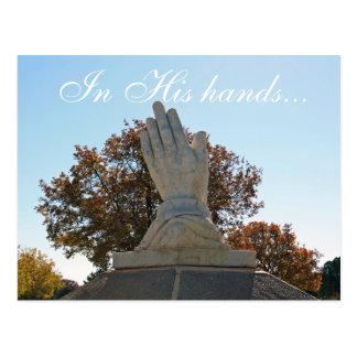 In His hands... Postcard