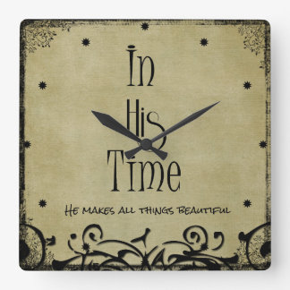 In His time Bible Verse Wall Clocks