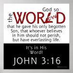 In His Word-John 3:16 Scripture Print