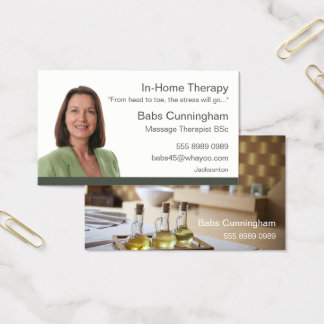 In Home Mobile Massage Therapy Trendy Portrait Business Card