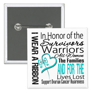 In Honor Collage Tribute Ovarian Cancer 2 Inch Square Button