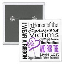 In Honor Tribute Collage Domestic Violence 2 Inch Square Button