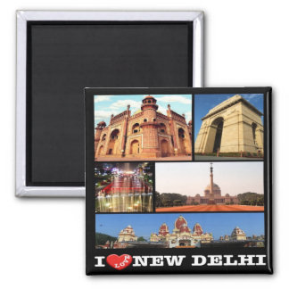 IN - India - New Delhi - I Love - Collage Magnet