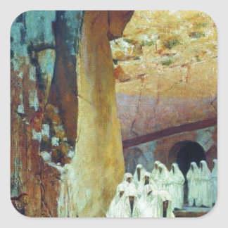 In Jerusalem. Royal tombs by Vasily Vereshchagin Square Sticker