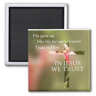 In Jesus We Trust 2 Inch Square Magnet