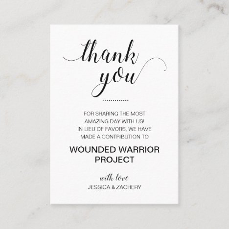 In Lieu Of Favors Charity Donate Thank You Wedding Place Card