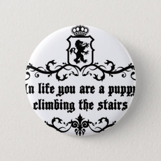 In Life You Are A Puppy Climbing The Stairs Button