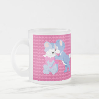 In love bears with pink hearts background 10 oz frosted glass coffee mug