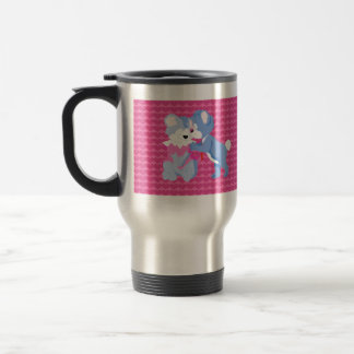 In love bears with pink hearts background 15 oz stainless steel travel mug