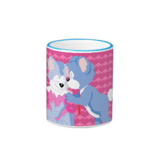 In love bears with pink hearts background ringer coffee mug