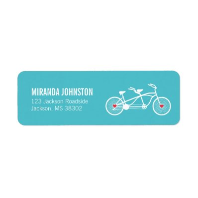 In love- Blue Bicycle  Wedding Address Labels