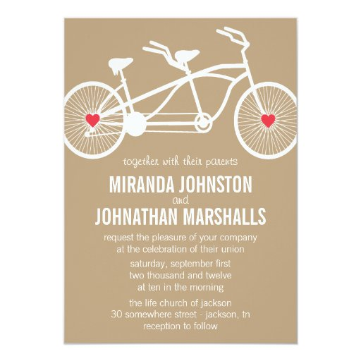"In love- Brown Bicycle Design Wedding Invitations 5"" X 7"" Invitation Card"