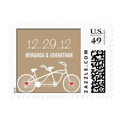 In love- Brown Bicycle Design Wedding Postage