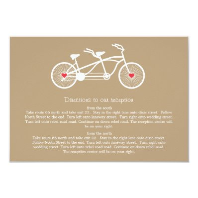 In love- Brown Bicycle  Wedding Direction Cards