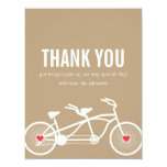 "In love- Brown Bicycle Wedding Thank You Cards 4.25"" X 5.5"" Invitation Card"
