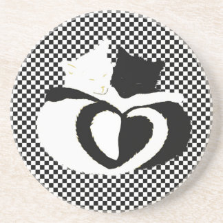 In Love Cats - black white cats tails heart shaped Coasters