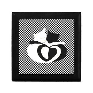 In Love Cats - black white cats tails heart shaped Gift Box