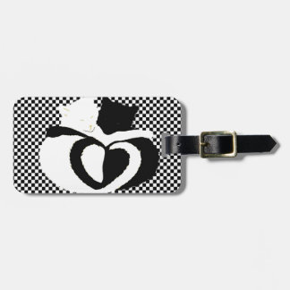 In Love Cats - black white cats tails heart shaped Bag Tags