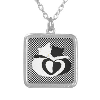 In Love Cats - black white cats tails heart shaped Pendant