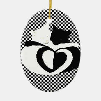 In Love Cats - black white cats tails heart shaped Ornaments