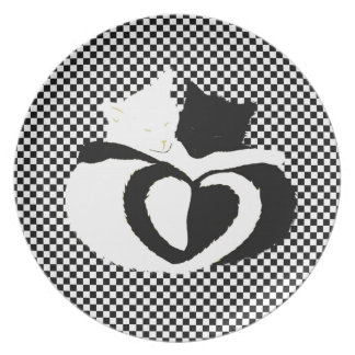 In Love Cats - black white cats tails heart shaped Dinner Plate