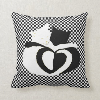 In Love Cats - black white cats tails heart shaped Throw Pillow