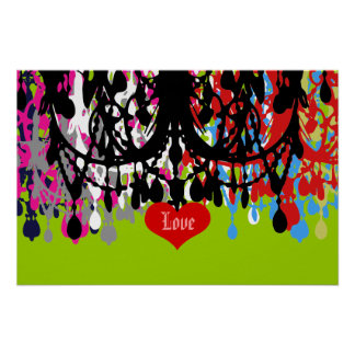 In Love Chandelier ~ 24x16 CHANGE COLOR Poster