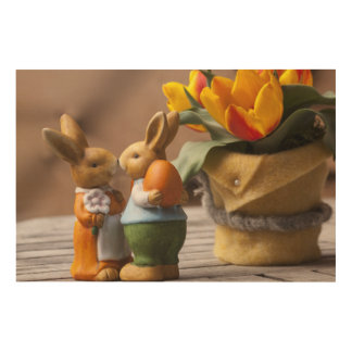In-Love doll bunnies and flowers Wood Print
