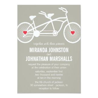 "In love- Gray Bicycle Design Wedding Invitations 5"" X 7"" Invitation Card"