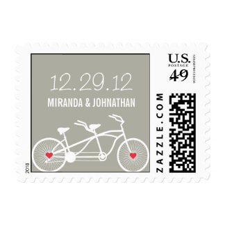 In love- Gray Bicycle Design Wedding Postage