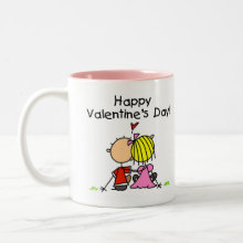 In Love Happy Valentine's Day Mug - A couple in love is featured on an adorable stick figure Valentine's Day design that reads 'Happy Valentine's Day'!
