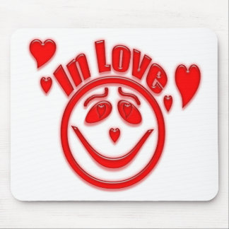 In Love Hearts and Smiley Face Mouse Pad