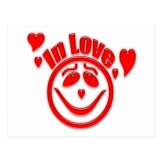 In Love Hearts and Smiley Face Postcard