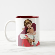 In Love Mug - Vintage love and romance image with a couple in love snuggling.
