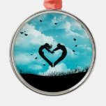 In love round metal christmas ornament