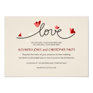In Love Simple Elegant Text Wedding 4.5x6.25 Paper Invitation Card
