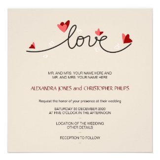 In Love Simple Elegant Text Wedding Invitations