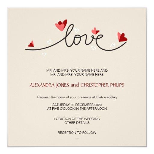 In Love Simple Elegant Text Wedding Invitation Zazzle