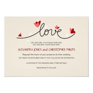 In Love Simple Elegant Text Wedding 5x7 Paper Invitation Card